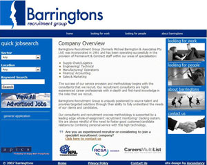 Barringtons Website Homepage